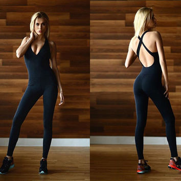women fitness Jumpsuit one piece set sexy female bodysuit bust bra paded all black workout backless open back overall romper 989