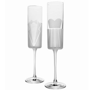 Rolf Glass Dress & Tux Wedding Cheers Champagne Flutes