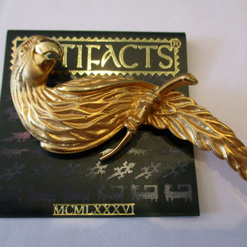 JJ Jonette Jewelry Vintage Parrot Pin Brooch- unique gift under 20 woman- Artifacts collectible