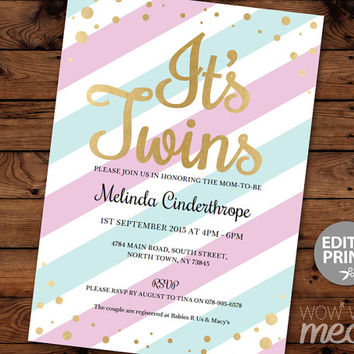 It's TWINS Baby Shower Invitation INSTANT DOWNLOAD Pink Blue Stripe Gold Gender Reveal Girl Boy Personalize Party Invites Editable Printable