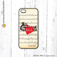Custom Koalas in love on music sheet iphone case 4/4S- iphone case 5/5S -Galaxy S4 case -Anniversary -wedding-Design by Natura Picta-NP031