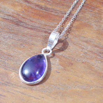 Amethyst Silver Pendant Necklace, small stone pendant,Sterling Silver Amethyst Pendant,Amethyst Gemstone Pendant Necklace, Amethyst Necklace