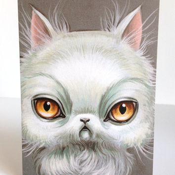 Crabby Cat - signed 4 x 5.75 Mini Fine Art Print by Mab Graves - unframed - open edition