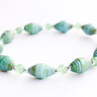 Green and Blue Paper Bead Bracelet - Reiki Charged