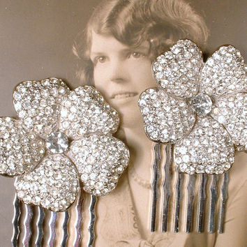 PAIR Vintage Art Deco 1920s OOAK Pave Rhinestone Bridal Hair Combs, Small Silver Flower Crystal Fur Clips to Hair Accessory GATSBY Wedding