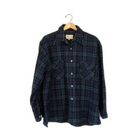 Vintage boyfriend flannel jacket 50s black and blue plaid shirt grunge tomboy womens Button Up Shirt Work Shirt. mens XL flannel shirt