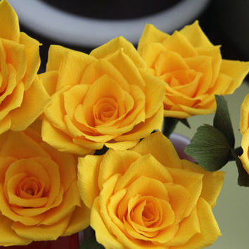 Crepe Paper Rose -- Yellow Rose -- Paper Flower - Ready to ship