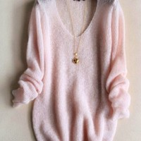 FASHION V-NECK KNIT SWEATER