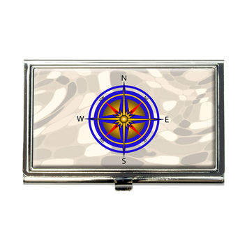 Compass Nautical North South East West Business Card Holder