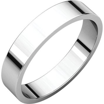 Palladium 4mm Flat Wedding Band Ring - Bridal Jewelry