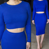 Blue Long Sleeve Cropped Top and High Waisted Pencil Midi Skirt