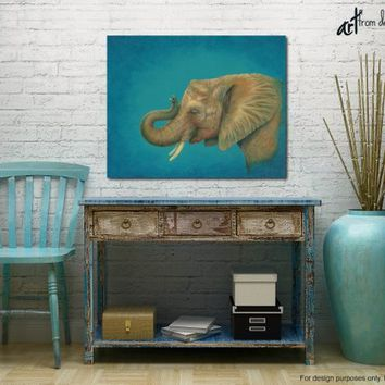 Elephant pictures, Large canvas wall art print of original elephant painting, Turquoise blue gold yellow brown wall decor