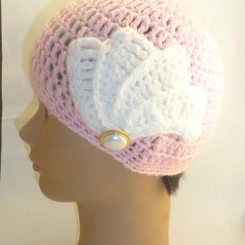 Crochet Pink Hat  Cloche Bird of Paradise