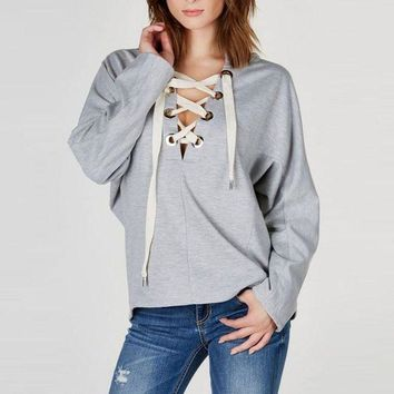 PEAP78W Women Fashion Ladies Sexy Batwing Long Sleeve Plunge V Neck Lace Up Hoodie Sweats Sweatshirt Hooded Tops Blouse Pullover