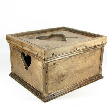 Wedding Card Wood Box Wooden Crate Heart Hope by BridgewoodPlace