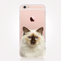 Transparent Cat iPhone Case - Transparent Case - Clear Case - Transparent iPhone 6 - Gel Case - Soft TPU Case - Samsung S7