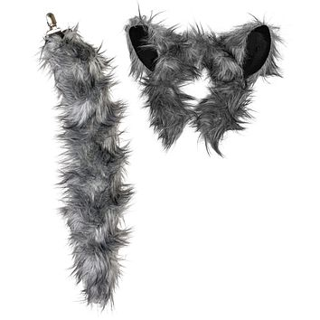 Plush Wolf Ears Headband and Tail Set Wolf Costume, Cosplay, Pretend Animal Play or Forest Animal Costumes