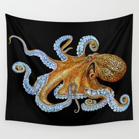 Octopus Wall Tapestry by Tim Jeffs Art