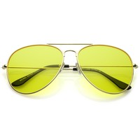 Retro Full Metal Aviator Yellow Driving Flat Lens Sunglasses C241