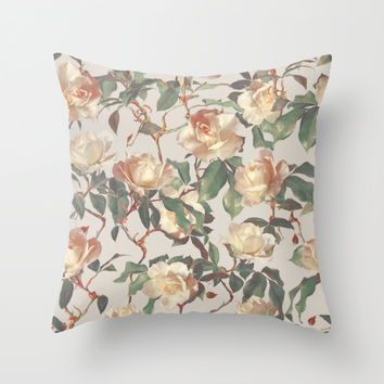 Soft Vintage Rose Pattern Throw Pillow by Micklyn