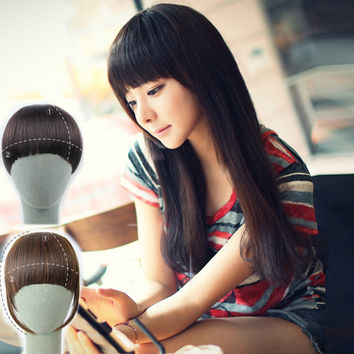 """6"""" 1PC Clip in Bangs Fake Hair Extension Hairpieces False Hair Piece Clip on Front Neat Bang For Women Synthetic Hair Fringe"""