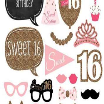 Sweet 16 Birthday Photo Booth Props For Birthdays and Kids Party - PRA126