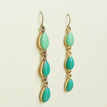 Turquoise Green & Teal Blue Teardrop Earrings, Teal Earrings, Green and Blue Resin Teardrops, Hypoallergenic, Bridesmaid, For Her