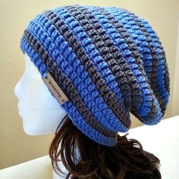 Blue and Grey Stripe Slouch - Crochet Slouchy Beanie - Womens Slouchy Hat - Baggy Beanie - Oversized Beanie - Hipster Hat