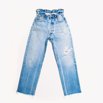 Gathered Waistband Vintage High Waisted Jeans