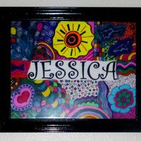 11X14 Multicolored abstract personalized name drawing