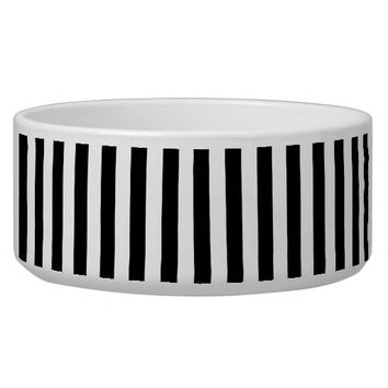 Vertical Stripes in Black and White Bowl