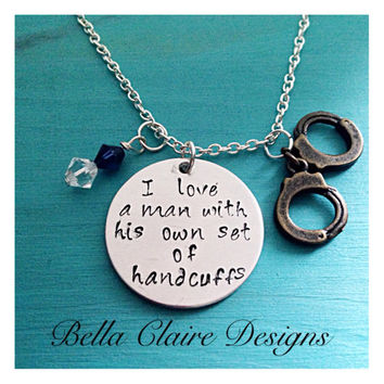Police Wife Necklace, Necklace Police Officer, Hand Stamped Police Wife Jewelry, Wife of a Police Officer, Police Jewelry, Police Officer Ne