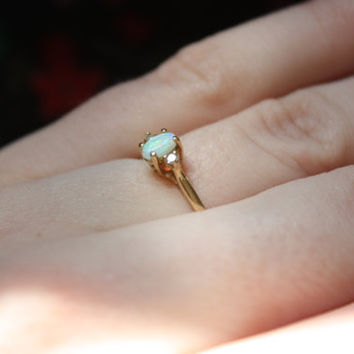 Opal of My Eye Vintage 14k Gold and Diamond Ring Size 5
