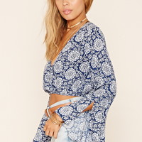 Bell-Sleeve Surplice Crop Top