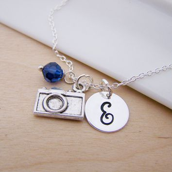 Camera Charm Photography Personalized Sterling Silver Necklace