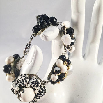 Hand Designed Bracelet, Vintage Jewelry Assemblage, Black And White
