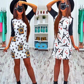 Women Dress Vintage Printed Short Sleeve Slim Party Dresses Vestidos Ladies Mini Spring Summer Dress