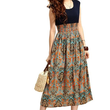 2016 Hot Sale 1X Lady Womens Summer Flower Print Bohemia Sleeveless Vest Maxi Long Dresses Good-looking MA 5