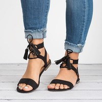Tassel Black Lace up Sandals