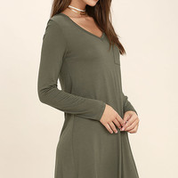 Relaxation Olive Green Long Sleeve Dress