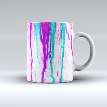 The Running Purple and Teal WaterColor Paint ink-Fuzed Ceramic Coffee Mug