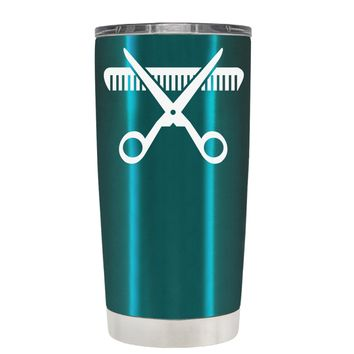 HairStylist Scissor and Comb Silhouette on Teal 20 oz Tumbler Cup