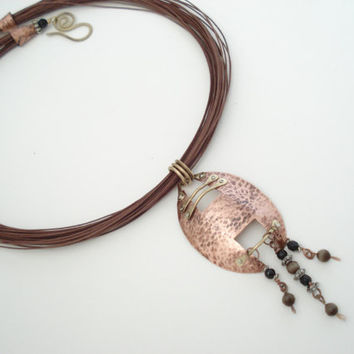 Unique Handmade Necklace -Cold Connection Metalwork Copper Pendant-Hand Hammered Copper Pendant-Modern Necklace-Multi strand Brown Necklace