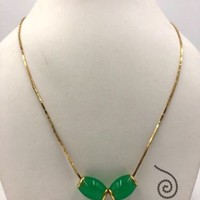 Vintage 18k Yellow Gold Natural Jade Bead Barrel Necklace 18""