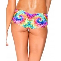 Ganja Tie Dye Scrunch Back Go Go Shorts