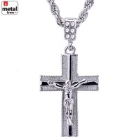 """Jewelry Kay style Men's Hip Hop Silver Plated Iced Out Jesus Cross Pendant 24"""" Chain HC 2043 S"""