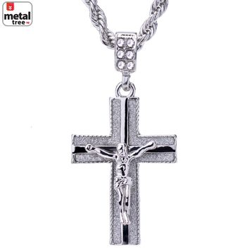 """Jewelry Kay style Hip Hop Silver Plated Iced Out Jesus Cross Pendant 24"""" Rope Chain HC 2042 S"""