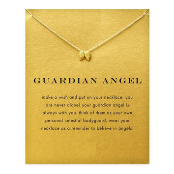 Hot Sale guardian angel, angel wings gold plated Pendant necklace Clavicle Chains Statement Necklace Women Jewelry