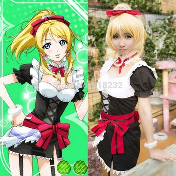 Lovelive! Love Live Ayase Eli Maid Apron Dress Uniform Outfit Anime Cosplay Costumes