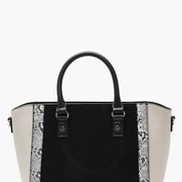 Faux Snake Trim Winged Tote | Boohoo